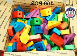 Bird Toy Wooden blocks Colored wood for parrot parts macaw A