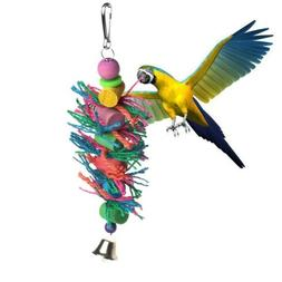 Bird Toys Swing Hanging In Bird Cage Wood Chew Cylinder Rope