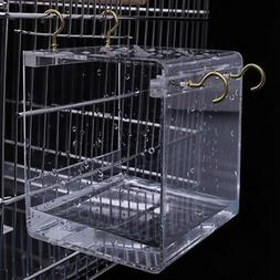 Transparent Pet Bird Bath House with Hanging Hooks for Parro