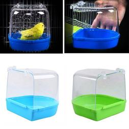 Bird Water Bath Tub For Pet Birds Cage Hanging Bowl Parakeet