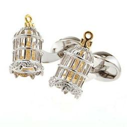 Birdcage Bird in Cage Moves Cufflinks Wedding Fancy Gift Box