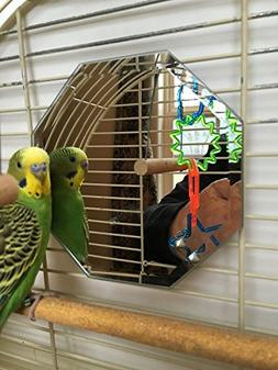 "Birdcage Mirror 5"" Beveled Glass Octagon Parakeet Budgie Coc"