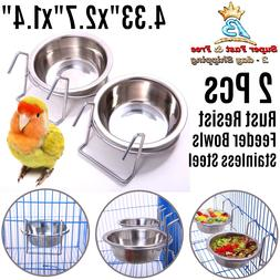 Birdcage Stainless Birds Feeder Water Bowls Food Dish Parrot
