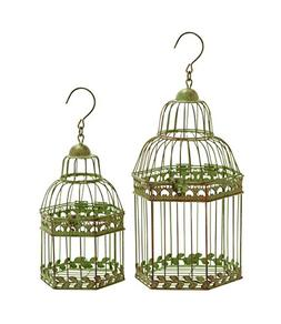 Benzara Birdcages, Gold Antique Polish, Floral, Set of 2