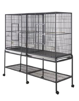 BirdsComfort HQ Double Flight Bird Cage 64x21 , Multi Purpos