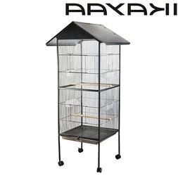"""Black 63"""" Bird Parrot Cage Canary Parakeet Cockatiel Bird Fi"""