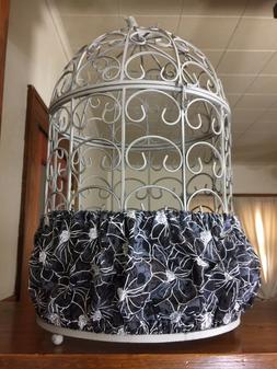 Handmade Black & White Fabric Bird Cage Skirt Seed Catcher G