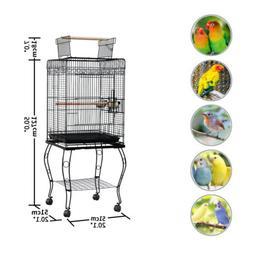 """Black Bird Cage Large Parrot 20""""L x 20""""W x 57""""H Cockatiel +T"""