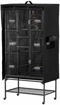 Yaheetech Bird Black Large Cage Cover w/Mesh Window/Storage
