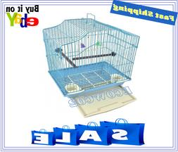 Blue Bird Cage Kit Starter Set Perches Swing Feeders Scallop