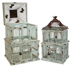 Set of 2 Blue/Rust Wood & Metal Decorative Accent Bird Cages
