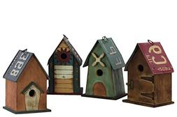 Benzara BM179141 Wooden Hut Shaped Birdhouse, Pack of Four,
