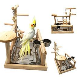 Borange Parrots Playstand Bird Playground Wood Perch Gym Sta