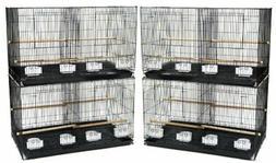 YML Breeding Cages with Divider, Medium, Black, Set of 4