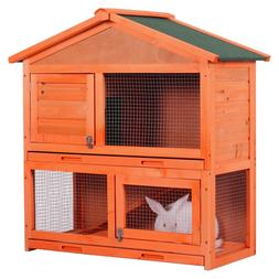 Bunny Indoor Outdoor Rabbit Hutch Wood House for Small Pets