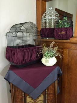 Handmade Burgundy Wine Fabric Bird Cage Skirt Seed Catcher G