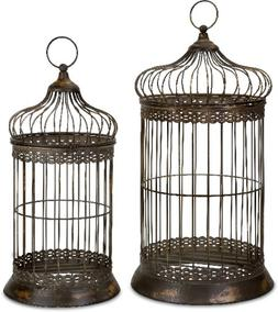 Byzantine Dome Antique Gold Birdcage Set of 2 Metal Décor I