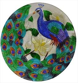Continental Art Center CAC2609500 18 in. Peacock Glass Plate