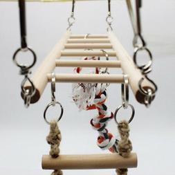 Cage Bird Parrot Hammock Large Macaw Toys Ladder Hanging Swi