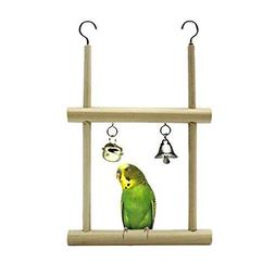 Cage Wood Toy Bird Stand Perch with Mirror for Parrot Cockat