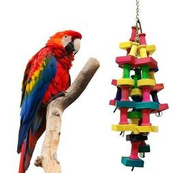 Cages Hang Toys Wood Large Rope Cave Ladder Bells Pet Parrot