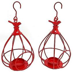 Candle Holder Tea Light Red Bird Cage Metal Ornament Home Ga