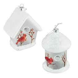 Cardinal Birdhouse Glass Christmas Ornaments, White, 4-3/4-I