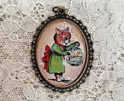 CAT HOLDING BIRD CAGE Glass Dome PENDANT X Large Oval VINTAG