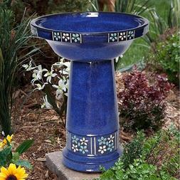 Smart Solar Ceramic Solar Bird Bath, Blue