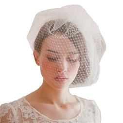Cereoth bridal birdcage bridal veil ivory fishnets with comb