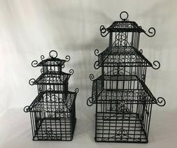 Charming Set of 2 Pagoda Metal Wire Decorative Bird Cages