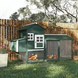 "Chicken Coop 84"" Wooden Backyard Nest Box House Hen Poultry"
