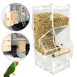 Clear Acrylic Seed No Mess Bird Feeder Parrot Canary Cockati
