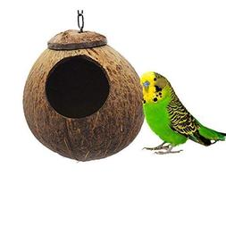 Natural Coconut Shell Bird Nest House Hut for Pet Parrot Bud