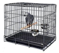 Collapsible Parrot Amazon Bird Travel Carrier Cage Stand Woo