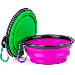IDEGG Collapsible Silicone Pet Bowl,Set of 2, Food Grade Sil