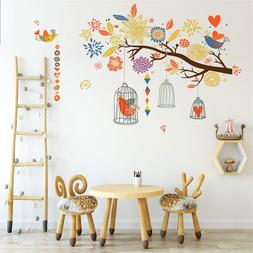 Colorful Tree Flowers <font><b>Cage</b></font> Wall Stickers