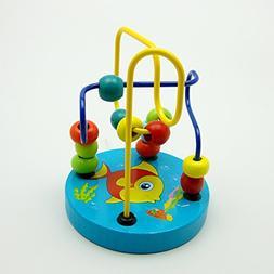 Colorful Baby Kids Children Wooden Toy Mini Around Beads Wir