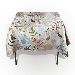 Cotton Linen Tablecloth Cartoon Hand Drawn Bird Twig Cage an