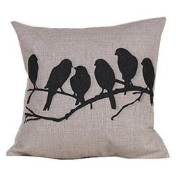 Onker Cotton Linen Square Decorative Throw Pillow Case Cushi