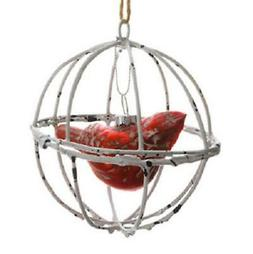 "4"" Country Cabin Distressed Cardinal in Wood Like Ball Cage"