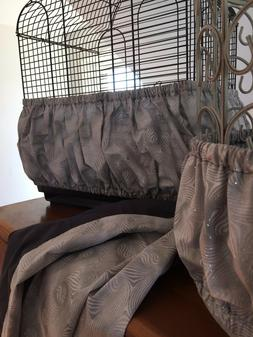 Hand Crafted Gray Fabric Bird Cage Skirt Seed Catcher Guard