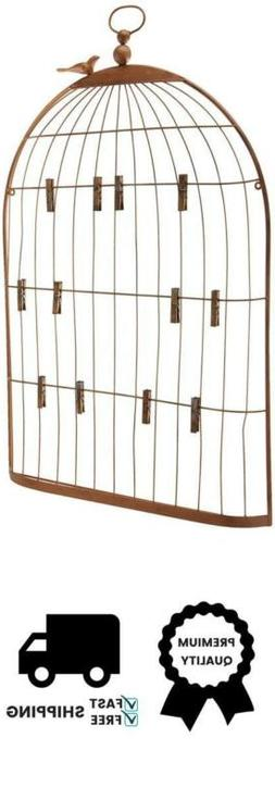 Creative Co-op Wall Birdcage Shaped Card & Photo Holder for