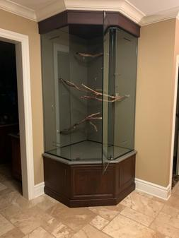 custom built bird cage  tempered glass/maple wood trim & cab