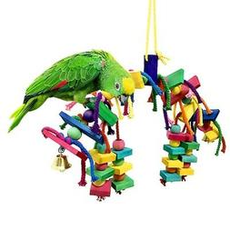 Cute Pet Parrot Bird Chew Toy Cages Hang Toys Wood Large Rop