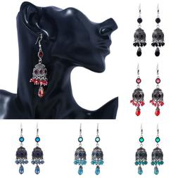 Dangle Drop Tibetan Silver Earrings Crystal Beads Rhinestone