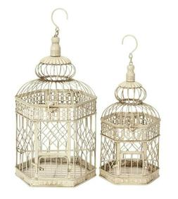 "Deco 79 Metal Bird Cage, 21-Inch and 18-Inch, Set of 2 9.5""D"