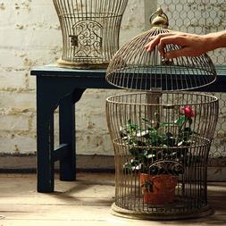 Set of 2 Decorative Antique Nesting Wire Bird Cages, Large: