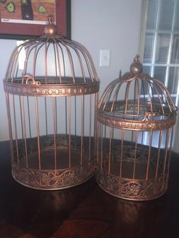 Decorative Bronze Hanging Bird Cage Lantern Wedding Home Dec
