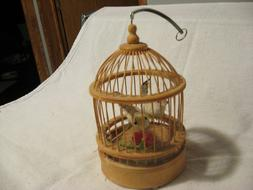 "Decorative hanging 7"" light wood bird cage; spring hanger; c"